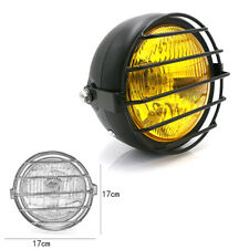 """6.5"""" Cafe Racer Motorcycle Retro LED Headlight Grill Side Mount Cover w/ Bracket"""