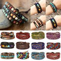 Retro Natural Stone Lava Healing Chakra Bead Bracelet Rope Wrap Bangle Jewelry