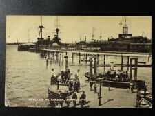 Hampshire: Portmouth Entrance to Harbour - Steam Ferry & War Ship & Train c1933