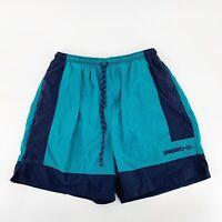 Vtg UMBRO Mens Beach Soccer Shorts Swim Trunks Lined Blue Spellout Logo Sz XL