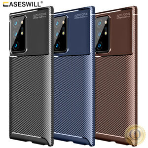 For Samsung Galaxy S21 S20 Note 20 Ultra Slim Carbon Fiber Shockproof TPU Case
