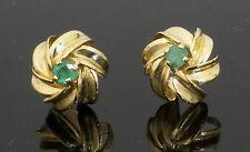9carat Oro Giallo Smeraldo Orecchini a Perno con bufferflies (11x11mm)