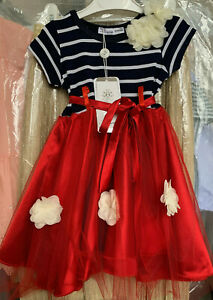 Red / Navy Tutu Dress for Girls with Roses|3-4-5-6 YEARS 97% Polyester3% Elastan