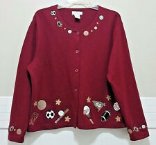CHRISTOPHER & BANKS Sports Sweater Red XLCardigan Soccer Baseball Football Mom