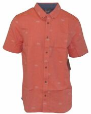 Vans HOUSER Boys Youth Button Front Shirt Medium Cherry Tomato NEW