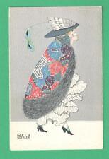 1916 MELA KOEHLER ART DECO POSTCARD PRETTY LADY CHAMPAGNE HAT PEACOCK FEATHERS