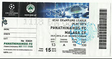 PANATHINAIKOS – Malaga 2012 – 2013 Champions League Play Off ticket stub-Pao