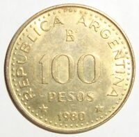 1980 ARGENTINA ONE HUNDRED 100 PESOS  NICE WORLD COIN