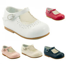 BABY GIRL PATENT SHOES SPANISH STYLE MARY JANE PARTY SHOES WHITE PINK RED NAVY