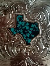 Trophy Belt Buckle Texas Inlaid Torquoise color.Hand Engraved Nickel Silver.