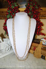 BEAUTIFUL NATASHA DOUBLE GOLD TONED METAL CIRCLE CHAIN NECKLACE & FACET CRYSTALS