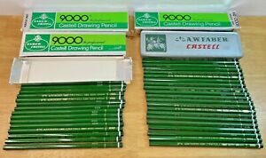 Vintage A.W. Faber Castell 34 Pencil Lot with 3 Boxes + 1 Tin - 9000 HB 2H