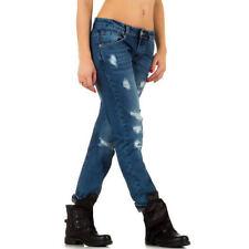 Hosengröße 42 stonewashed Damen-Jeans mit geradem Bein