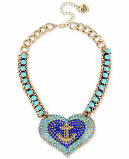 NW0T Betsey Johnson Gold-Tone Blue Crystal and Stone Anchor Heart Necklace