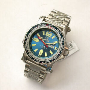 NEW $550 GENTS 45MM BLUE NEVER DARK DIAL REACTOR PROTON WORLD TIMER WATCH #91603
