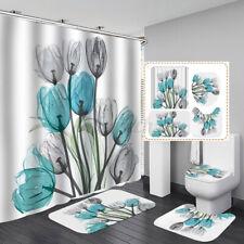 4Pcs/set Bathroom Flower Tulip Shower Curtain Toilet Cover Rugs Mat Waterproof