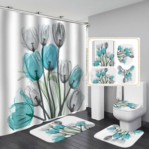 4Pcs/set Bathroom Flower Tulip Shower Curtain Toilet Cover Rugs Mat Waterproof
