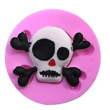 SILICONE MOULD  SKULL & X BONES CAKE SWEETS JELLY CAKE DECORATION ECT