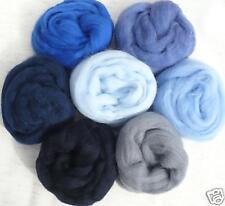7 colors I got the blues Wool roving 1oz each ~ 50 blue