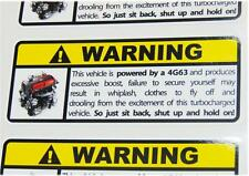 4G63 Warning Sticker Decal Mitsubishi Evolution Drift JDM Japan Evo