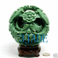 """5"""" Hand Carved 6 layers Green Stone Magic Puzzle Ball Sphere"""