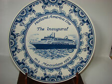 Delft  MS Maasdam Inaugural Voyage Plate Holland-American Line 1993 Blue & White