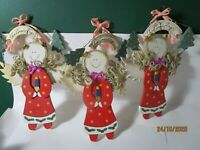 Cute Vintage Christmas Angel Wall Decor Plaques Lot of 3