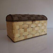 Coffre rangement lamelle bois fait main made in ITALY vintage XXe PN France