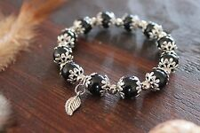 Gorgeous Handmade Black Glass Bead&Tibetan Silver Flower Stretch Beaded Bracelet