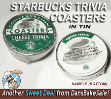 Starbucks Coffee 24 Conversation Trivia Coasters Recycled in Sealed Tin Package