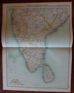 Southern India Ceylon Sri Lanka Mysore detailed c.1930 Religious Missions map
