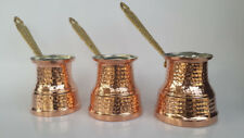 Turkish Handmade Thick Copper Cezve-ibrik-Coffee-SET-of-3-POT-handcrafted