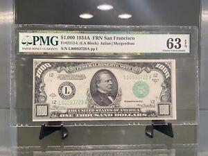 1934 A $1000 Federal Reserve Note San Francisco PMG 63EPQ