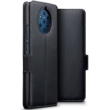 Nokia 9 Pureview Genuine Leather Thin Slim Wallet Case with Stand in Black