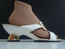 Authentic 80s Vtg Unusual Onex Bejeweled Avant-Garde Leather Shoes 8 - 8.5 M Nos