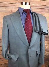 Hickey Freeman Silverwoods Blue 2 Btn Vintage Wool Suit Men 40R 34x28 Flat Front