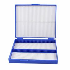 Royal Blue Plastic Rectangle Hold 100 Microslide Slide Microscope Box CT