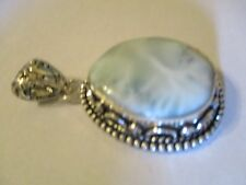 Caribbean Larimar Pendant 60 x 33 mm  With Bail Marked 925 CL1