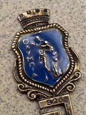 """Vintage 800 Silver Enamel Greek Key Souvenir Spoon-9.9 grams, 4.5"""""""