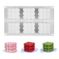 3D Cube Wax Candle Plaster Mould Silicone Square Bubble Dessert DIY Mold  Tools