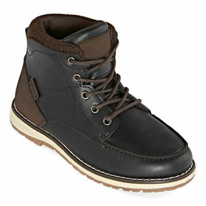 Arizona Kid's Boy's Black Leather Lace Up Mid Top Comfort Boots Shoes Size 2 M