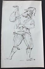 """Eugene Karlin Signed Pen & Ink Drawing Of A Minstrel 28 1/2"""" X 17"""""""