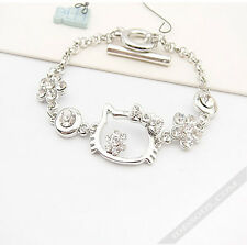 Hello Kitty SILBER Armband Armkette Zirkon Diamanten Schmuck Geschenk FERANI