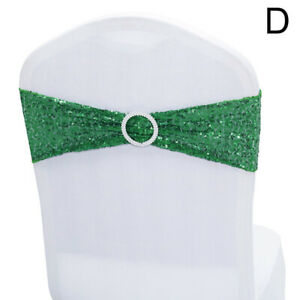 Stretch Chair Sashes Shiny Sequin Chair Bands With Buckle Slider For Wedding Bow