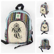 Printed Unisex Small Hemp Bags Handmade Bags Boho Hippie Backpack Casual Travel