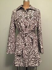 Guess Gray White Zebra Print Belted Trench Coat Jacket Size L