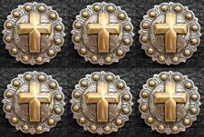 "Set of 6 Western Horse Tack Antique Gold Cross Berry Conchos 1-1/4"" screw back"