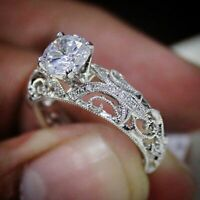 2Ct Round Diamond Vintage Filigree Solitaire Engagement Ring 14K White Gold Over