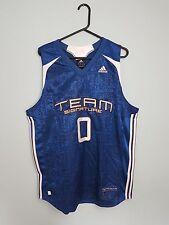 De Colección Adidas Azul USA brillante audaz Deportes Atléticos Baloncesto Camiseta Top en muy buen estado Reino Unido L