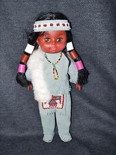 "Rare Vintage 11"" Indigenous Style Handmade Souvenir Doll in Leather Costume EUC"
